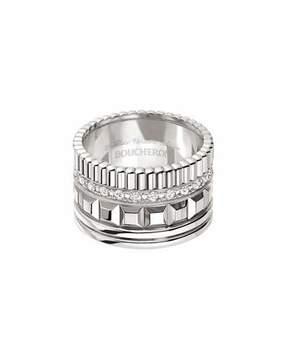 Boucheron Quatre 18K White Gold Ring with Diamonds, Size 53