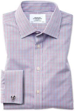 Charles Tyrwhitt Extra Slim Fit Non-Iron Grid Check Multi Cotton Dress Shirt French Cuff Size 15/35