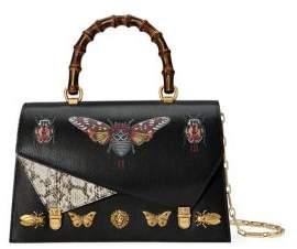 Gucci Ottilia Bamboo Handle Leather & Snakeskin Handbag - BLACK - STYLE