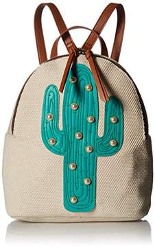 T-Shirt & Jeans Canvas Back Pack with Cactus and Pearls