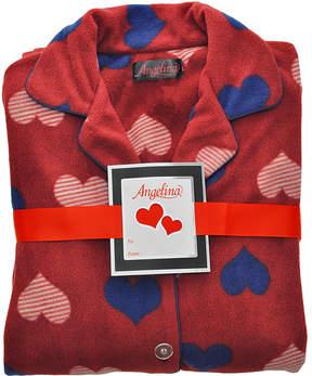 Angelina Burgundy Hearts Fleece Pajama Set - Women