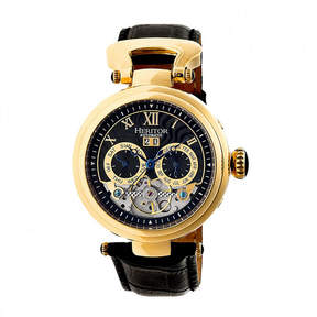 Heritor Automatic Ganzi Mens Leather Day&Date-Gold/Black Watches