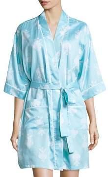 BedHead Chandelier-Print Short Kimono Robe, Blue