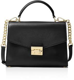 MICHAEL Michael Kors Sloan Top Handle Medium Leather Satchel - BLACK/GOLD - STYLE