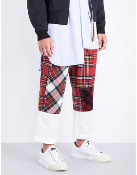 Loewe Tartan fisherman wide mid-rise wool-blend trousers