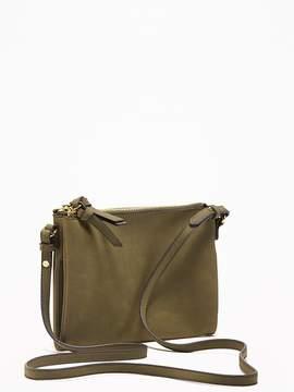 Sueded Dual-Zip Crossbody Bag for Women