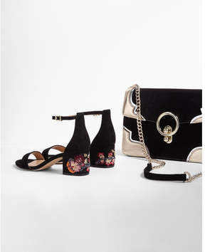 Express floral low block heeled sandals