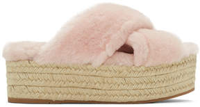 Miu Miu Pink Shearling Cross Sandals