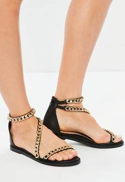 Missguided Black Asymmetric Chain T-Bar Sandals