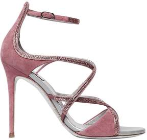 Rene Caovilla 105mm Suede Cage Sandals W/ Crystals