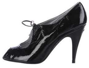 Karen Millen Patent Leather Peep-Toe Pumps