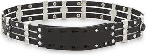Maje Stone detail leather belt