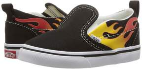 Vans Kids Slip-On V Black/Black/True White) Boys Shoes