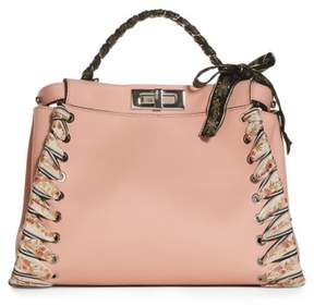 Fendi Medium Peekaboo Whipstitched Leather Satchel - Pink