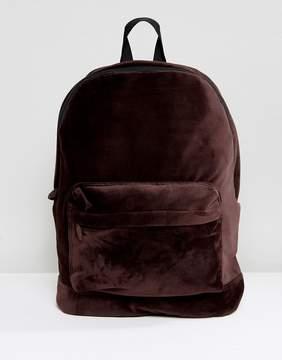 Asos Backpack In Brown Velvet