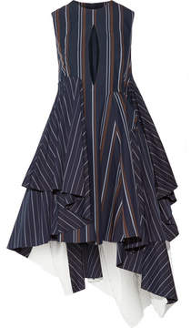 Facetasm Asymmetric Striped Cotton-blend Poplin Dress - Midnight blue