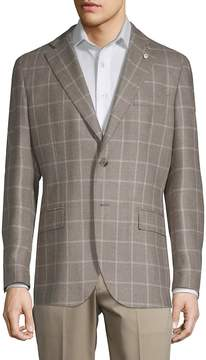 Lubiam Men's Grid Plaid Wool & Silk Sport Coat