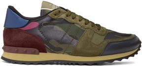 Valentino Green and Pink Garavani Camo Rockrunner Sneakers