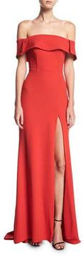 Faviana Off-the-Shoulder High-Slit Crepe Evening Gown