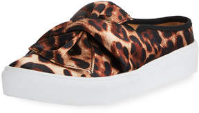 Neiman Marcus Camran Knotted Cheetah-Print Slide