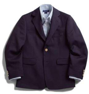 Lord & Taylor Husky Gold-Button Wool-Blend Navy Blazer