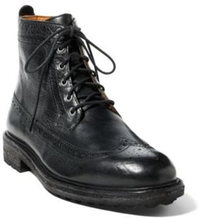 Ralph Lauren Nickson Wingtip Leather Boot Black 10.5