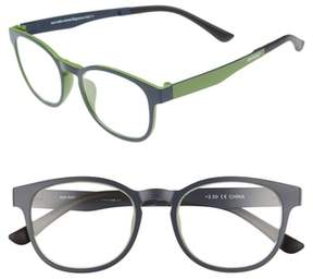 Eyebobs Men's Animal Magnetism 50Mm Reading Glasses With Sun Clip - Blue With Green