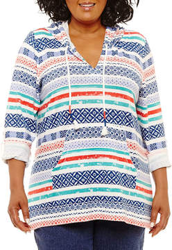 N. Lark Lane Mix Mingle Stripe Front Pocket Poncho- Plus