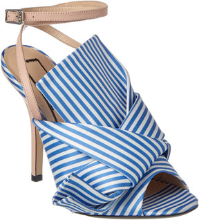 N°21 N 21 N21 Ronny Striped Satin & Leather Mule Sandal