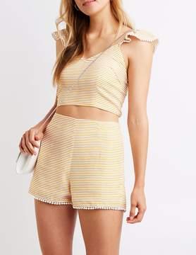 Charlotte Russe Striped Hi Waist Shorts