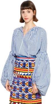 Stella Jean Striped Cotton Blouse W/ Puff Sleeves