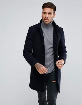 Pull&Bear Overcoat In Navy