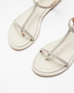 Express Embellished Soft T-Strap Sandals