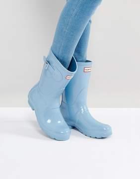 Hunter Pale Blue Gloss Short Wellington Boots