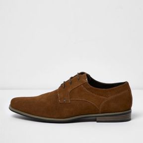 River Island Mens Tan suede derby shoes