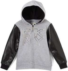 DKNY Light Gray Logo Contrast-Sleeve Zip-Up Hoodie - Toddler & Girls