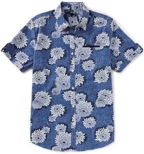 Murano Slim-Fit Floral Print Slit Pocket Short-Sleeve Woven Shirt