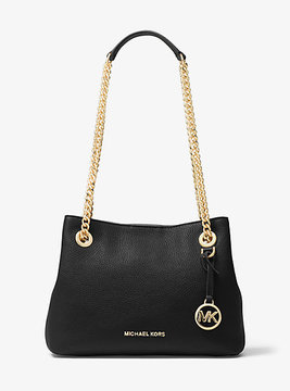 Michael Kors Jet Set Medium Leather Shoulder Bag - BLACK - STYLE