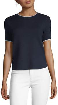 Saks Fifth Avenue BLACK Women's Tipped Knit T-Shirt