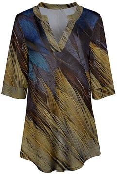 Azalea Blue & Yellow Abstract V-Neck Tunic - Women & Plus