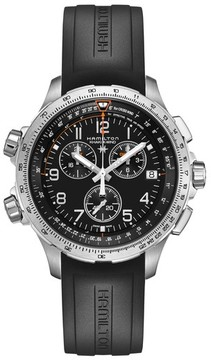 Hamilton Men's Khaki Aviation X-Wind Chronograph Gmt Silicone Strap Watch, 46Mm