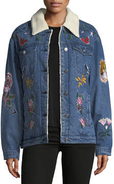 Bagatelle Faux-Shearling-Lined Embroidered Denim Jacket