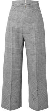 Antonio Berardi Prince Of Wales Checked Wool-blend Wide-leg Pants - Black