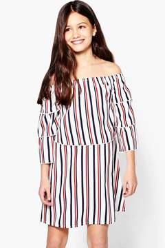 boohoo Girls Stripe Bardot Tiered Sleeve Dress