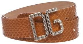Dolce & Gabbana Brown Snakeskin Rhinestone Buckle Belt.