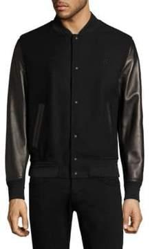 Bally Varsity Wool & Leather Bomber Jacket