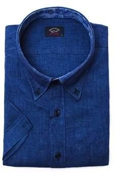 Paul & Shark Men's Blue Linen Shirt.