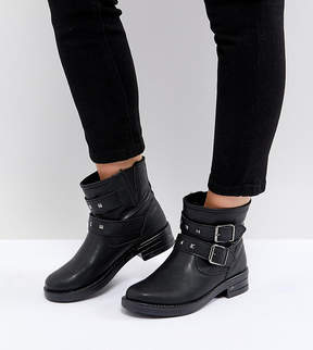 Asos ACCENT Wide Fit Studded Biker Ankle Boots