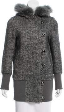 ICB Fur-Trimmed Wool-Blend Jacket