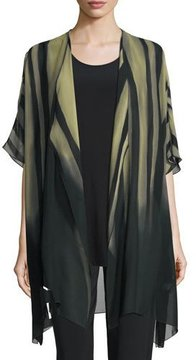 Caroline Rose Exotic Elements Open-Front Cardigan, Moss/Black, Petite
